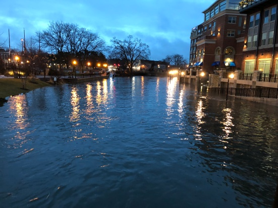 Flooding in downtown Naperville, IL