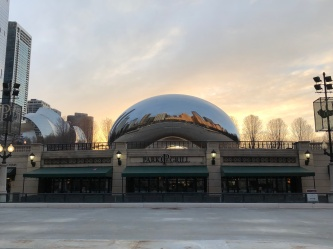 The Bean with Chicago skyline